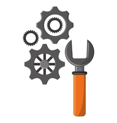 Isolated wrench and gear design vector image vector image