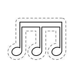 Music note sing cut line vector