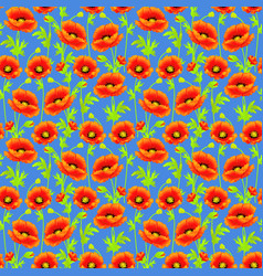 seamless background with bright poppies tissue or vector image vector image