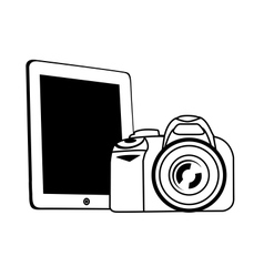 tablet and camera white vector image