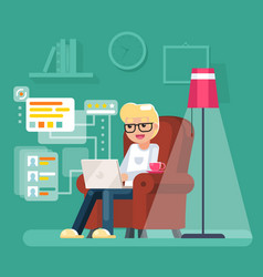 Work at home man sit in armchair with laptop vector