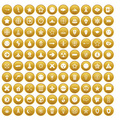 100 logotype icons set gold vector