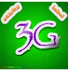 3G technology icon sign Symbol chic colored sticky vector