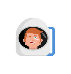 Astronaut winks emoji cosmonaut happy emotion vector