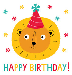 birthday greeting card with a cute lion vector image