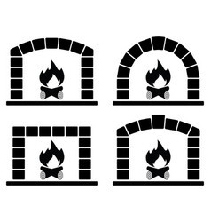 black and white clipart set of ovens with burning vector image