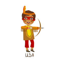 boy in native american country national clothes vector image