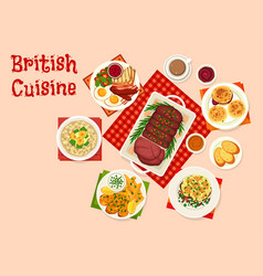 British cuisine icon of traditional breakfast food vector