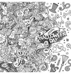 Cartoon cute doodles hand drawn Happy Halloween vector image