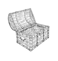 cartoon drawing old open pirate treasure chest vector image