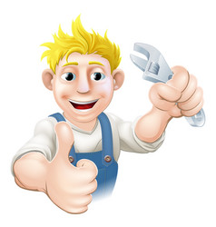 cartoon mechanic or plumber vector image