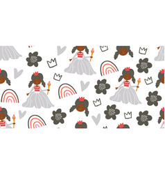 childish seamless pattern with princess castle vector image
