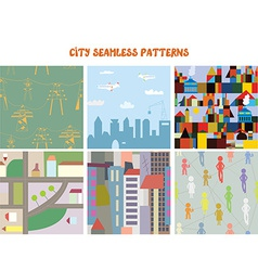 City and town seamless patterns set vector image