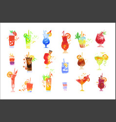 Cocktails set summer drinks watercolor vector