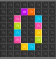 colorful brick block letter o flat design vector image