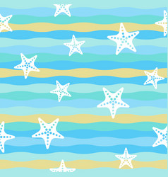 colorful wave and starfish seamless pattern vector image