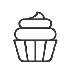 Cute cup cake sweets and dessert outline icon vector