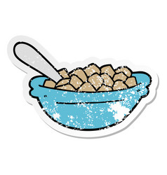 Distressed sticker of a cartoon cereal bowl vector