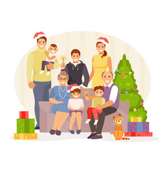 family christmas vector image