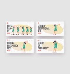 Female pregnancy stages landing page template set vector