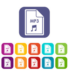 File mp3 icons set vector