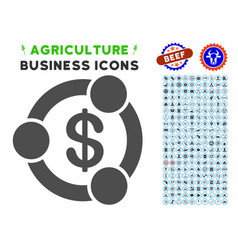 Financial collaboration icon with agriculture set vector