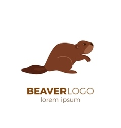 Flat beaver logo vector
