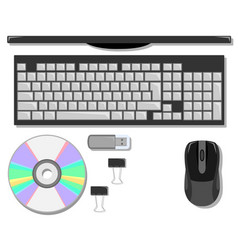 flat set of stationery on the table with computer vector image