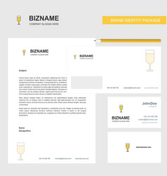 glass business letterhead envelope and visiting vector image