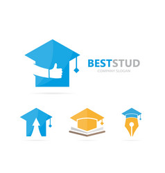 Graduate hat and like logo combination vector