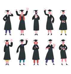 graduated students college graduates wearing vector image
