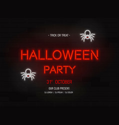 halloween party light banner modern neon vector image