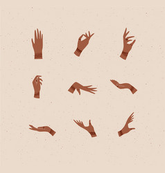 Hand with bracelets rings in various positions vector