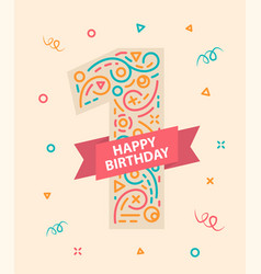happy birthday card first vector images over 560