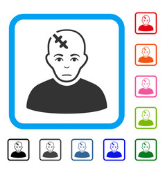 Head hurt framed unhappy icon vector