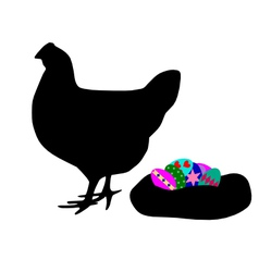 Hen with easter eggs vector