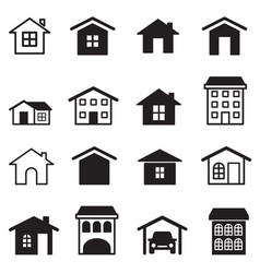 home condominium tower apartment icons set vector image