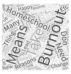 Homeschool burnout Word Cloud Concept vector