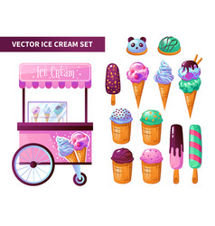 Ice cream cart products set vector