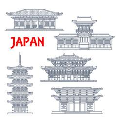 japanese temples shrines japan pagodas in nara vector image