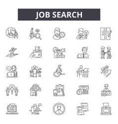 job search line icons for web and mobile design vector image