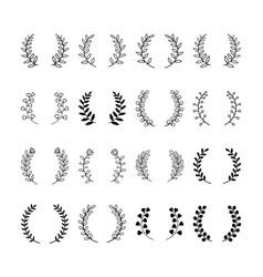 leaf divider and floral dividers set laurels vector image