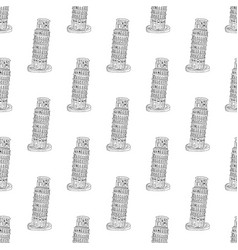 Leaning tower pisa seamless pattern hand drawn vector