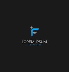 Letter f human people creative business logo vector