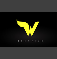 Letter w logo with yellow colors and wing design vector