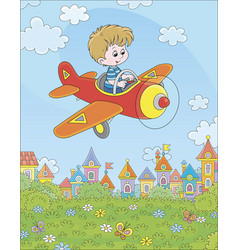 little pilot in his plane over a town vector image