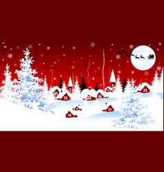 little village on winter christmas night vector image