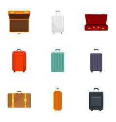 luggage icon set flat style vector image