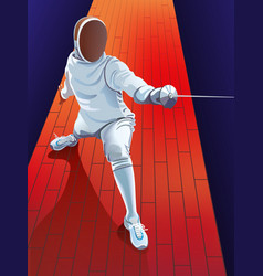 male fencer in action vector image
