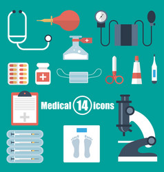 medical set of 14 icons in a flat style vector image